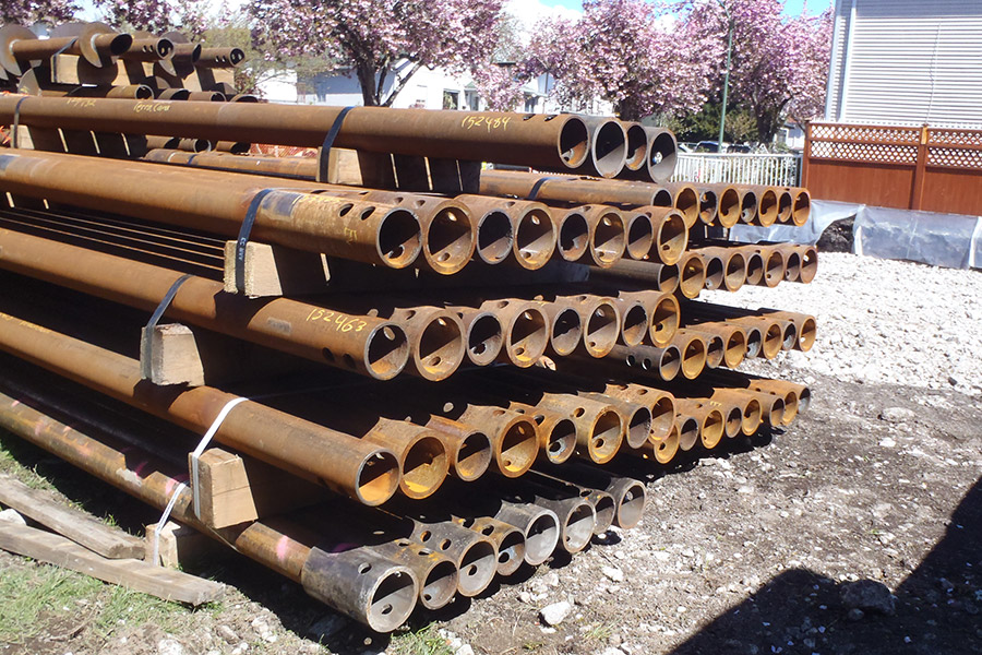 Pipe piles prepped for installation