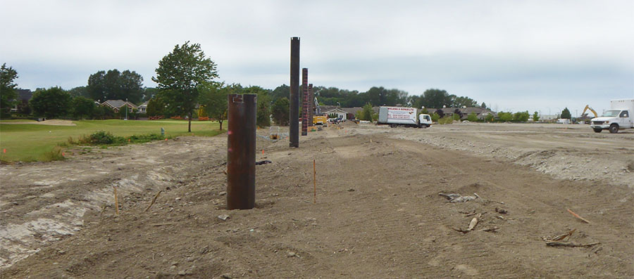 Pipe pile foundation in construction