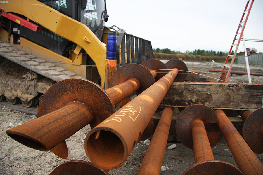 Unloading Helical Pipe Piles for soil stabilization