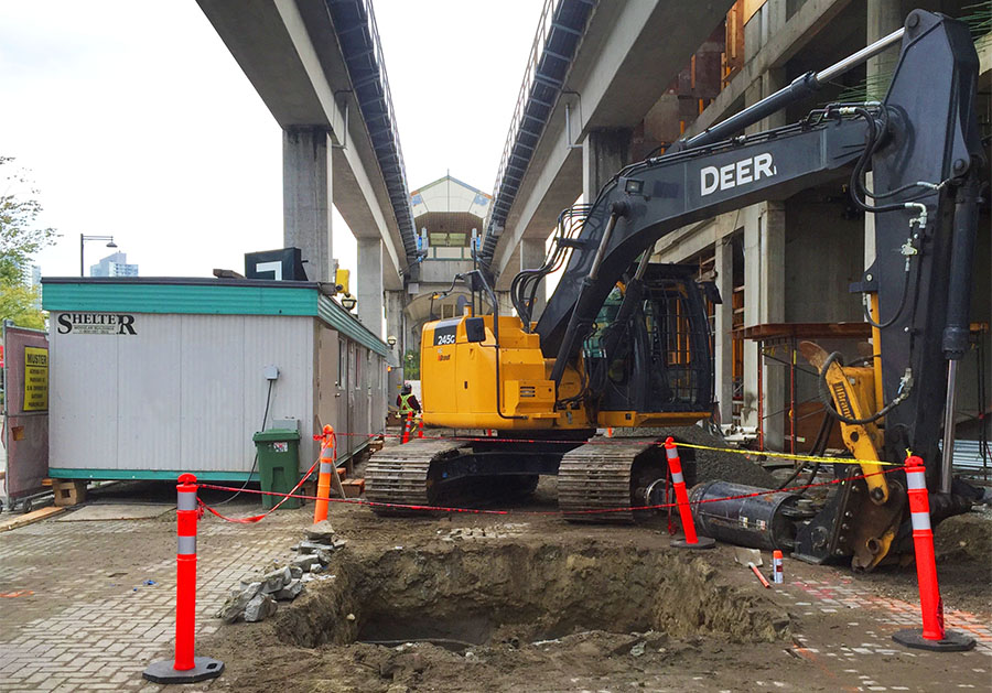 Pipe pile installation under the skytrain tracks