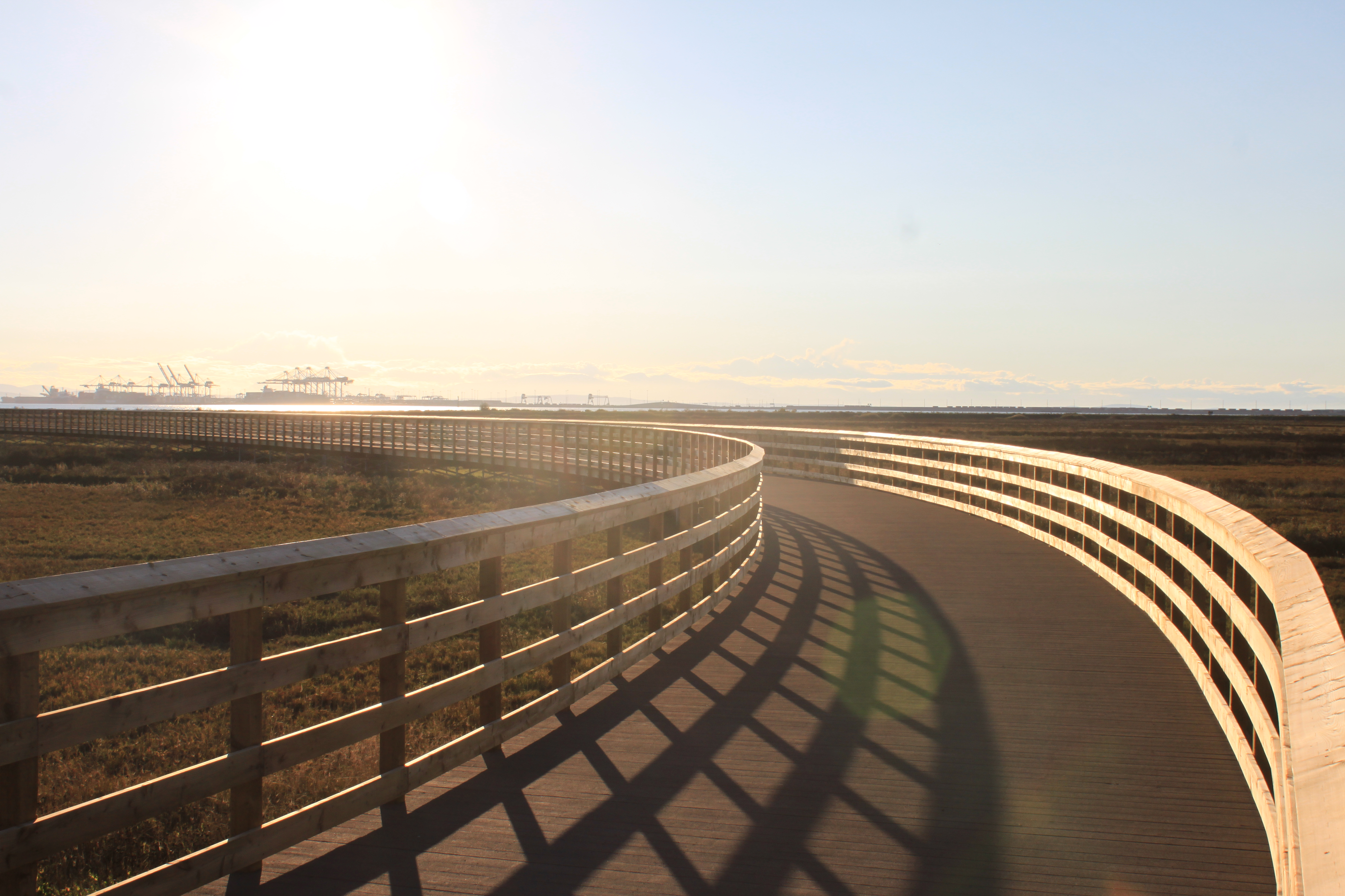 The completed boardwalk at sunset